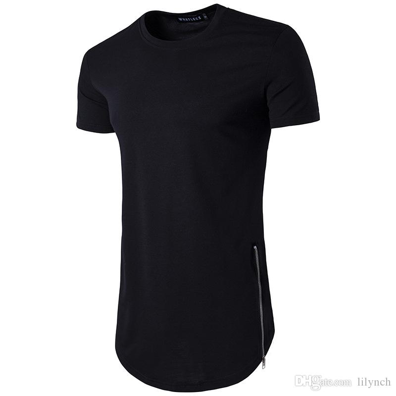 b62e6328885a New Trends Men T Shirts Super Longline Long Sleeve T Shirt Hip Hop Arc Hem  With Curve Hem Side Zip Tops Tee Awesome Shirts For Men The T Shirts From  Lilynch ...