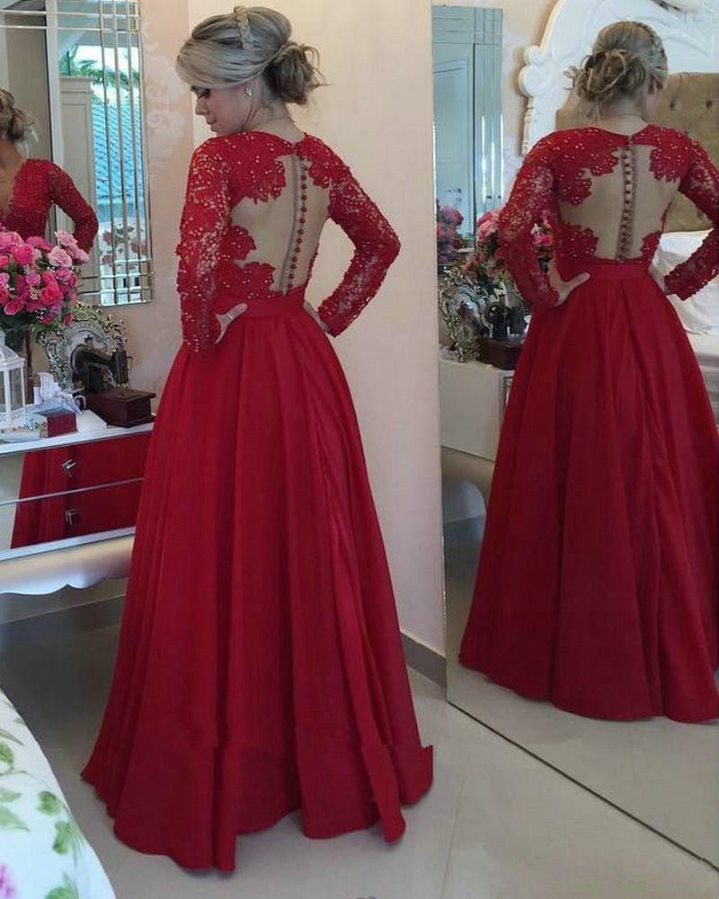 Großhandel Sexy Rote Spitze Abendkleider 18 Lange Formale Kleider Vestido  De Festa Sexy Langarm Abendkleid Günstige Party Kleider Chiffon Verlobungs