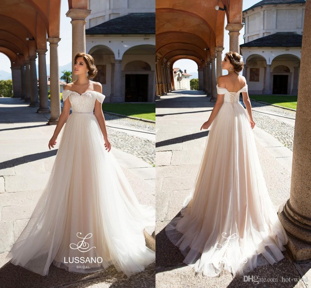 Elegant A Line Champagne Tulle Beach Wedding Dresses 2018 Off Shoulders Lace Appliques Corset Back Bridal Gowns Custom Made Sexy 2017
