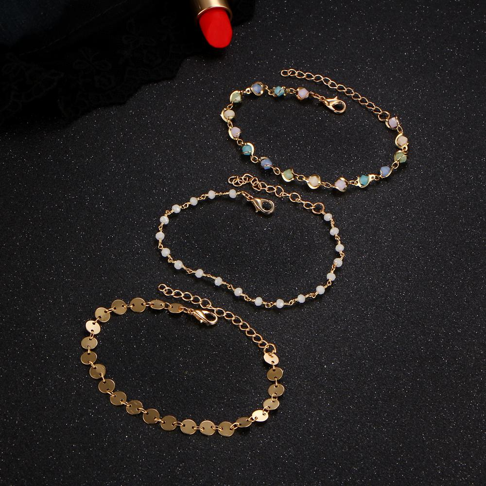 IF ME Colorful Acrylic Beads Faux stone & Coin Sequins Charms Bracelets for Women Female Bohemia Boho Jewelry Gold-Color