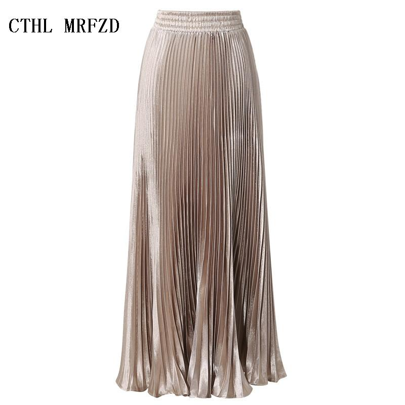 bb4b8f253 2019 2017 Summer New Fashion Vintage Metallic Bling Bling Glitter Gold  Pleated A Line Women Long Maxi Flare Skater Party Skirt From Fincek007, ...
