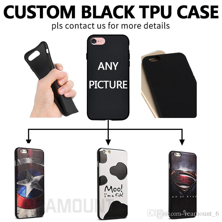 10pcs Retail Custom Your Logo Any Picture Printing DIY Design for Soft TPU Clear Black Case for iPhone 7 7 Plus
