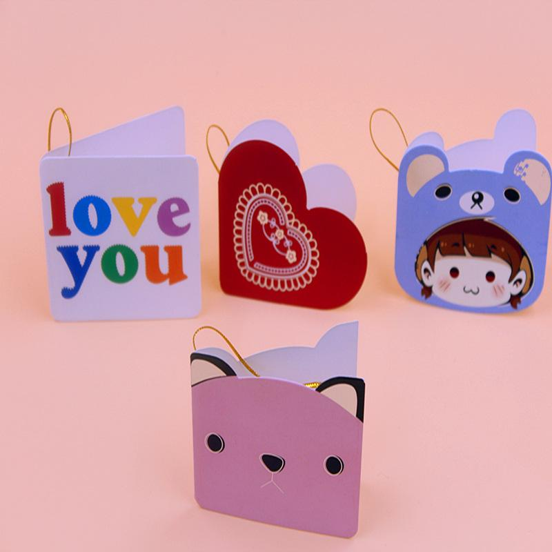 ZG111 Wholesale Cartoon Child Greeting Card Fancy Silk Small Birthday Gift Blessing Festive Hanging Cards With Envelope Sayings
