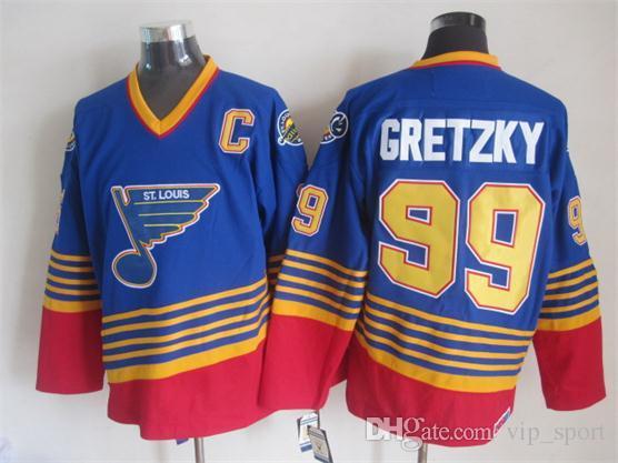 Hóquei no gelo 99 Wayne Gretzky Jersey Men Rangers LA Reis Oilers St. Louis Blues Wayne Gretzky Jerseys All Star Azul Branco Vermelho