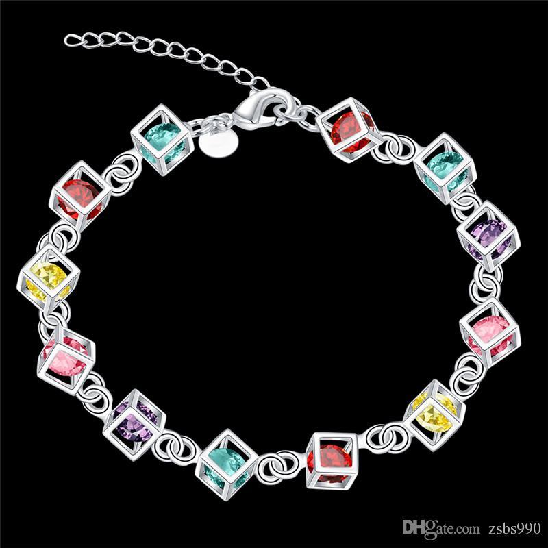 100 nieuwe hoge kwaliteit 8 inch lange 925 zilveren ingelegd steen armband mode meisje sieraden gratis verzending