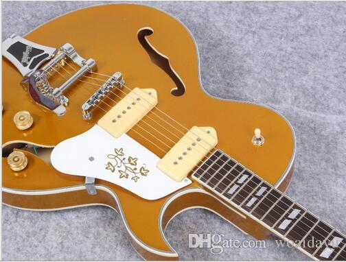 best selling jazz hollow body p90 pickup electric guitar with chrom hardware accessories gold. Black Bedroom Furniture Sets. Home Design Ideas