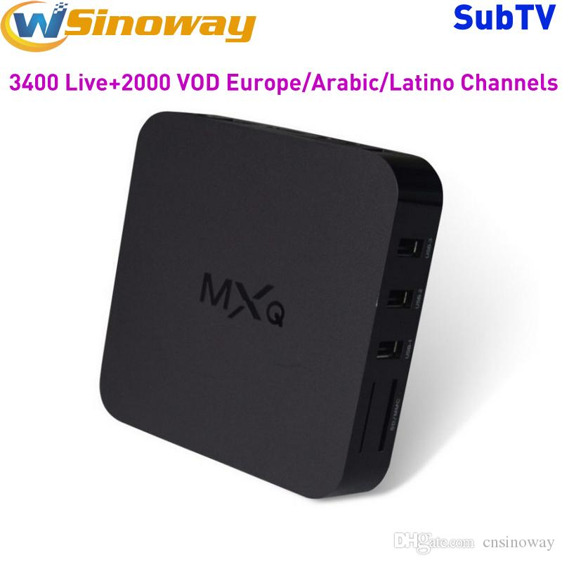 Europe IPTV Box MXQ Android Boxes With One Year Subtv Free For More 3400 IPTV Channels Arabic France Italy UK Germany Portugal Brazil IP TV
