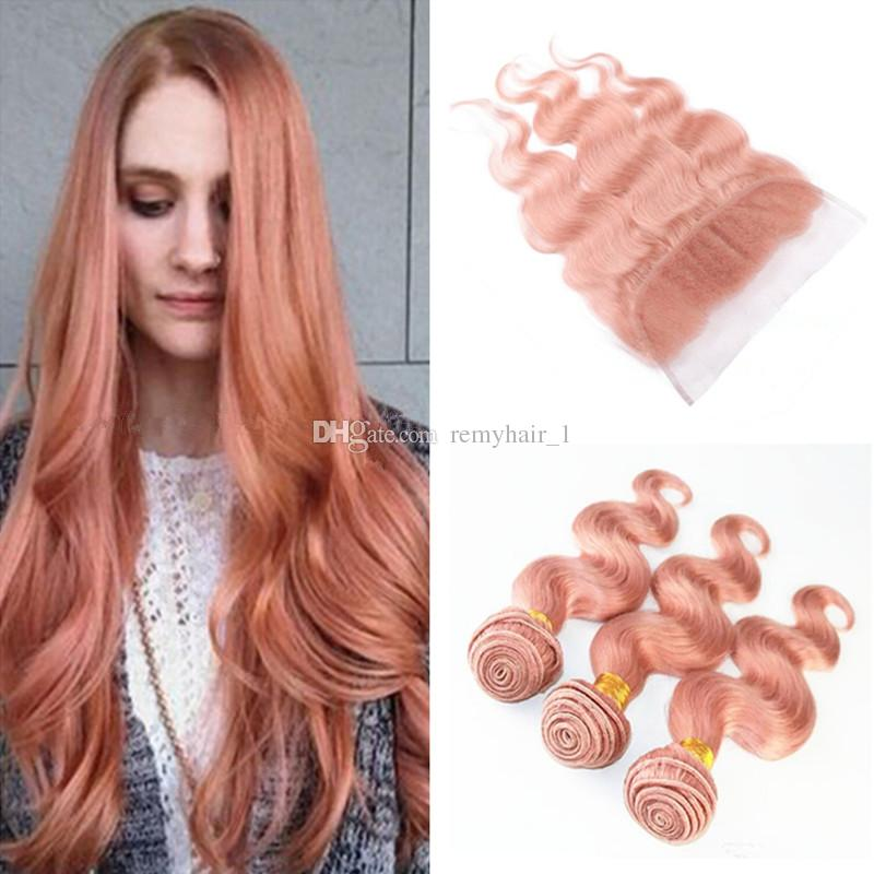Pure Pink Hair Weave 3 Bundles With 13x4 Lace Frontal Rose Gold