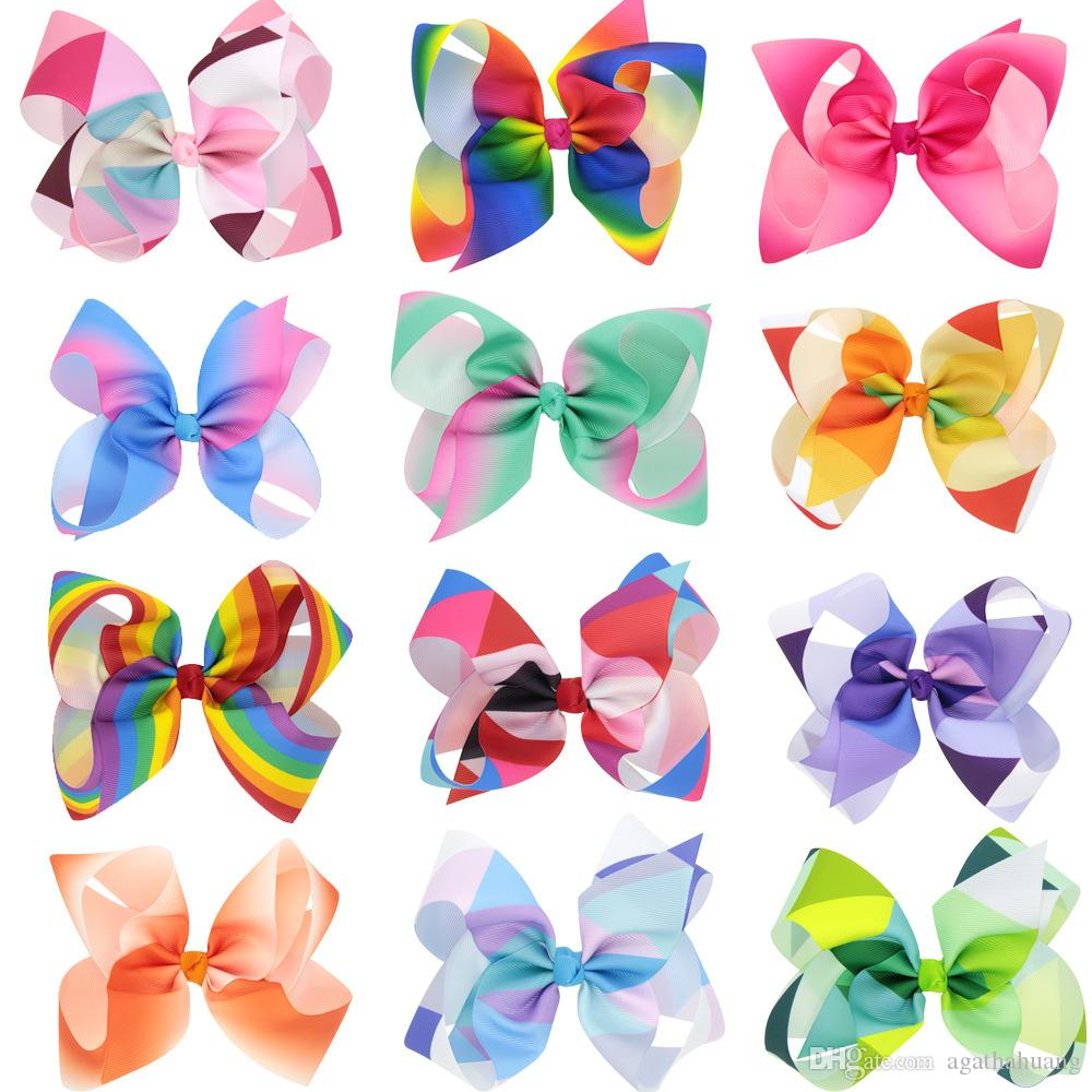 2017 Trendy Grosgrain Rainbow Colored Hair Bows With Alliator Clips Fashion  Boutique Jojo Siwa Bows Dropshipping