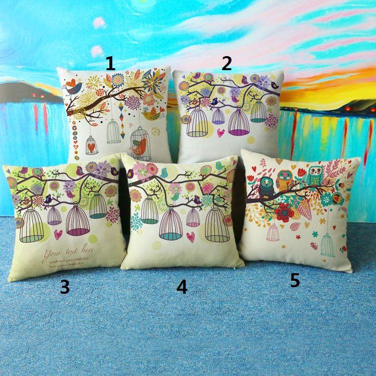 Chouette oiseau oreiller créatif décoratif coussin d'ameublement avec double impression côtés lin coton jet Taie 17.7x17.7inch