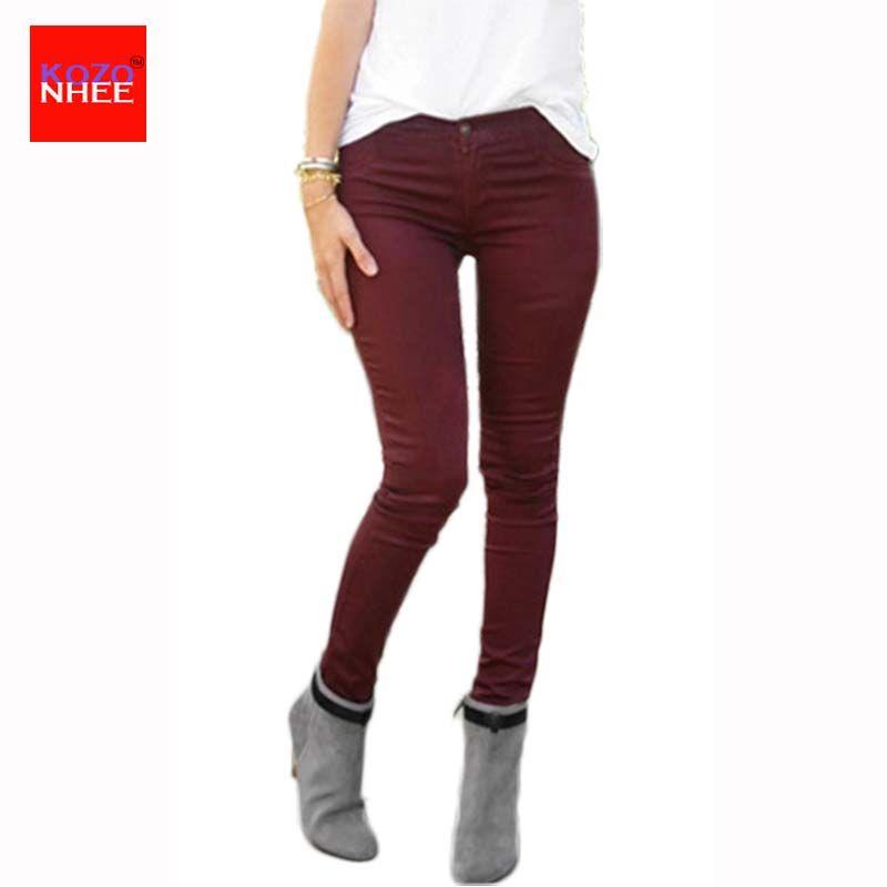 80929db2c1e2 Acquista Commercio All ingrosso Caramella Sottile Che Si Estende Jeans  Skinny A Vita Alta Donna Pantaloni Elasticizzati In Jeans A Matita Push Up  Le Donne ...