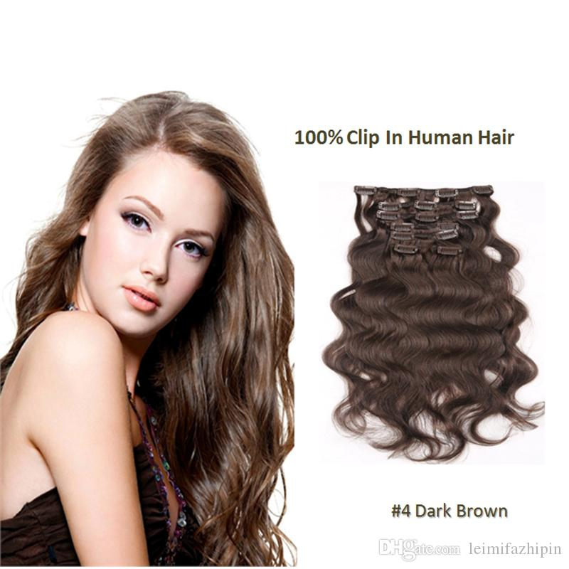 Women Curly Clip In Human Hair Extensions Dark Brown 16clips