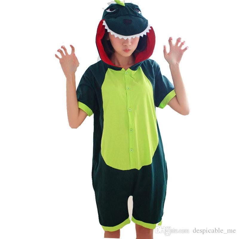 b8fa58216436 2019 Summer Cartoon Anime Dinosaur Pajamas Women Pink Dinosaur Cosplay  Costume Onesie Adult Short Godzilla Pajamas Homewear From Despicable me