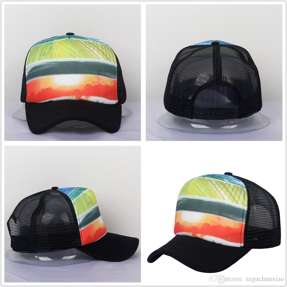 4df58675e2a ... Rainbow Color Mesh Hat Baseball Cap Curved Bill Beach Hat Casual  Snapback Man  Woman  Summer Polyester Front Nylon Mesh Hats Caps Baseball  Cap Trucker ...