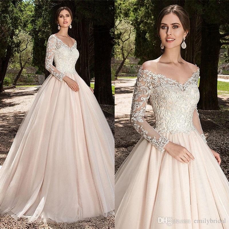 Discount 2018 Spring Fashion A Line Champagne Wedding Dress Applique Lace  Long Sleeves Vintage Wedding Gowns Western Country V Neck Berta Bridal Gown  ... 999f26324775