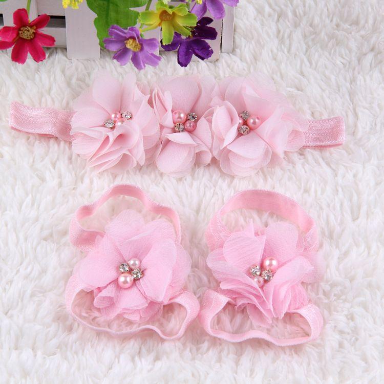Accessoires cheveux mignon bébé pied en mousseline de soie strass fleur Barefoot Sandales + Bandeau / set bébé Bandeaux élastiques bébé Enfants Bandeaux
