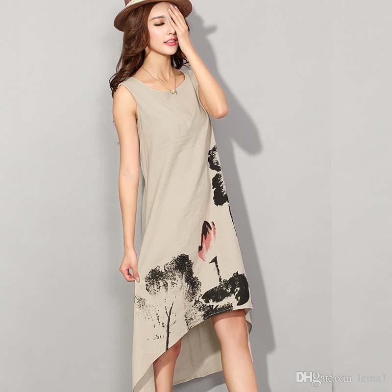9de2cdca5a4 M 2XL Summer Dress 2017 Vestido Casual Dresses Women Cotton Linen Vintage  Dress Ladies Sundress Plus Size Women Clothing Ladies Dresses Styles Dresses  ...