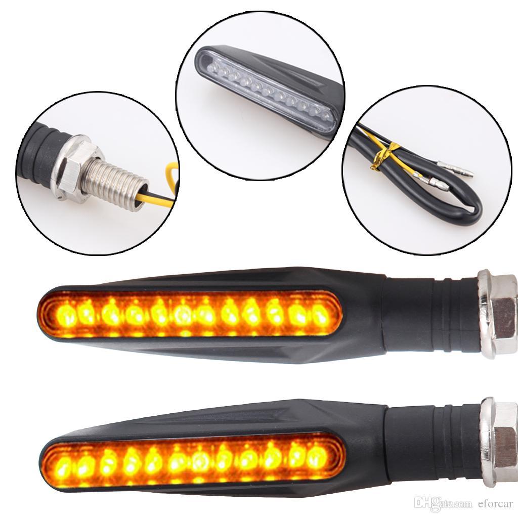 Universal 12 LED Motocicleta Turn Signals Luzes Indicador de Moto Blinkers Âmbar Luz Da Lâmpada 12 v Luzes Da Motocicleta Peças Flexível