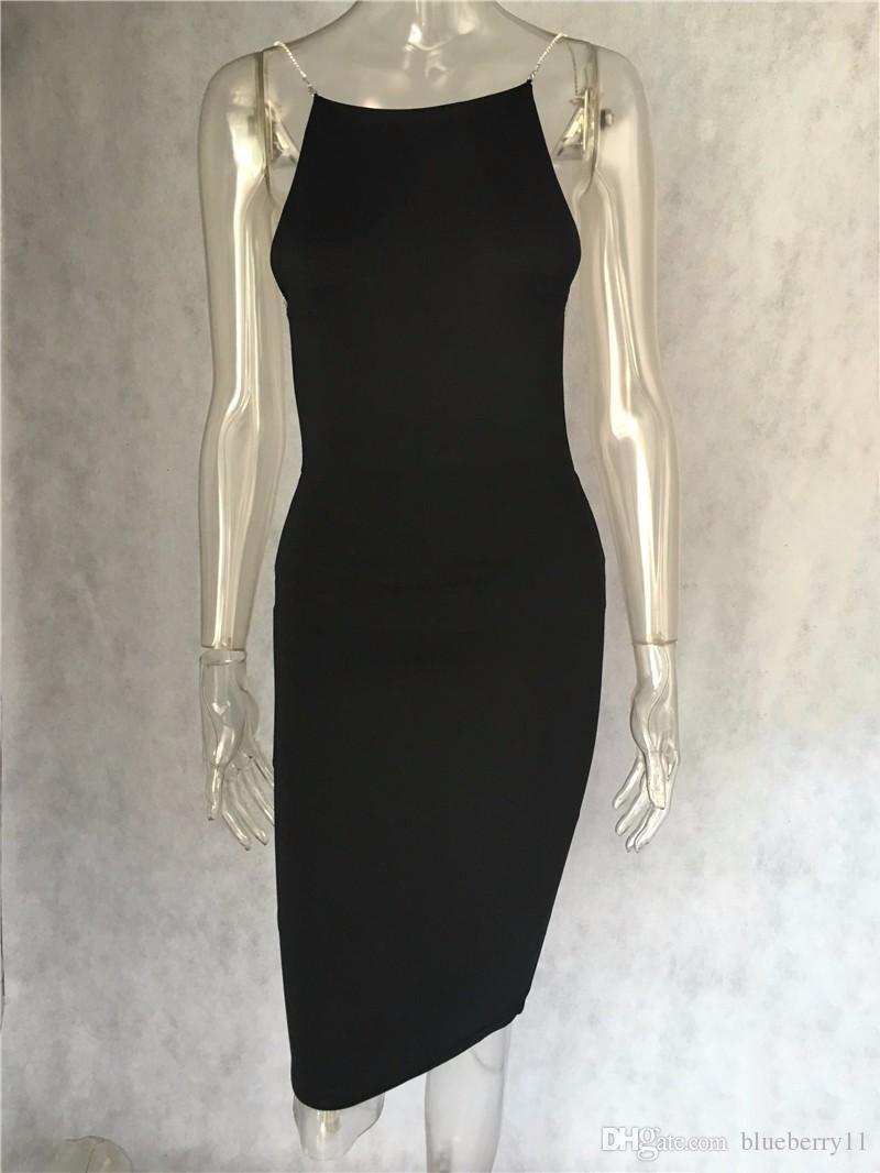 Venta caliente vestido sexy es sólidos negro blanco vestidos de verano slash cuello cadena de lentejuelas longitud de la rodilla bodycon vestido sin espalda envío gratis