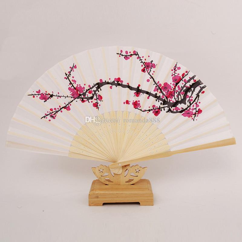 Plum Blossom Flower Print Folding Hand Fans White Polyester Folding