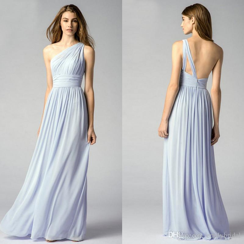 One shoulder light blue bridesmaid dresses elegant long for One shoulder dress for wedding guest