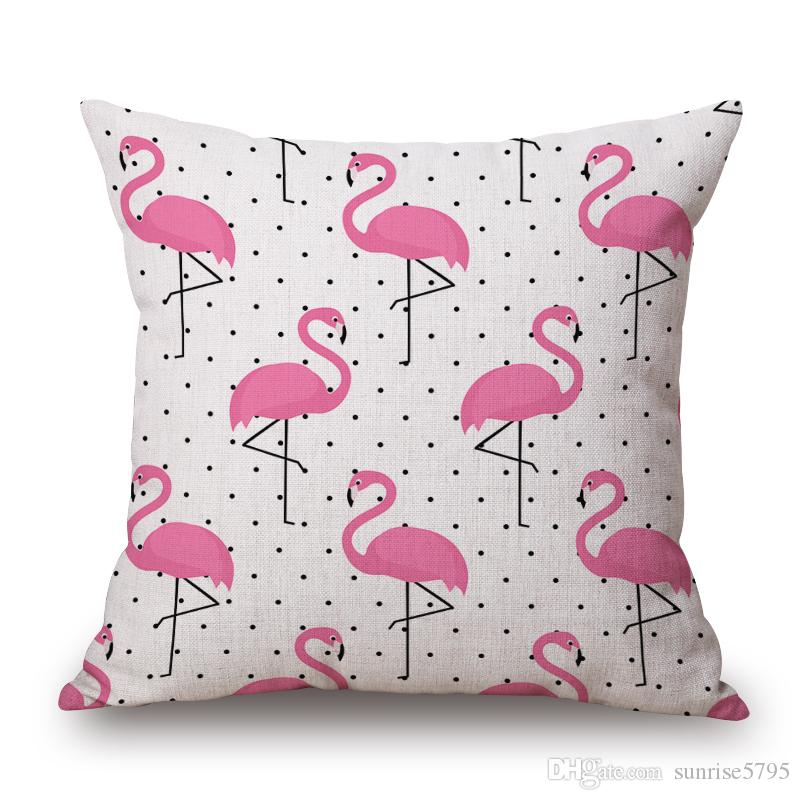 plant and flamingo cushion cover pink chair couch throw pillow case sofa almofada cotton linen chaise cojines modern decor