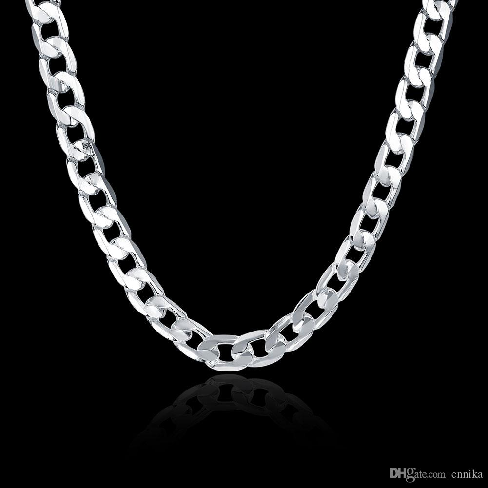 Design Jewelry Figaro Chains 925 Silver Curb Necklace 22inch 24inch 10mm , Fashion Silver Jewelry Chokers Necklaces N005