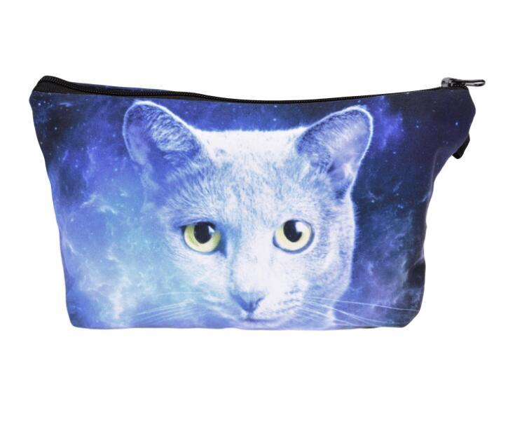 Galaxy sunglasses cat 3D Printing cosmetic bag organizer toiletry bag pencil makeup bags pouch for women