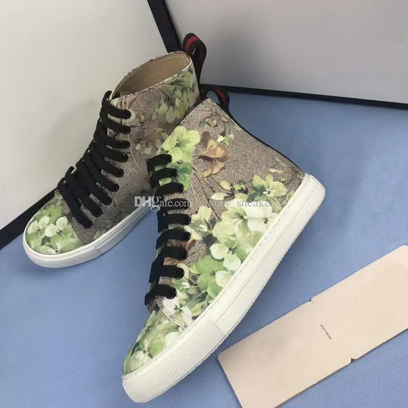 3d576eb2572e7 Designer New Men Women High Top G G Casual Shoes Flower Tiger Printed  Leather Sneakers Fashion Floral Party Shoes