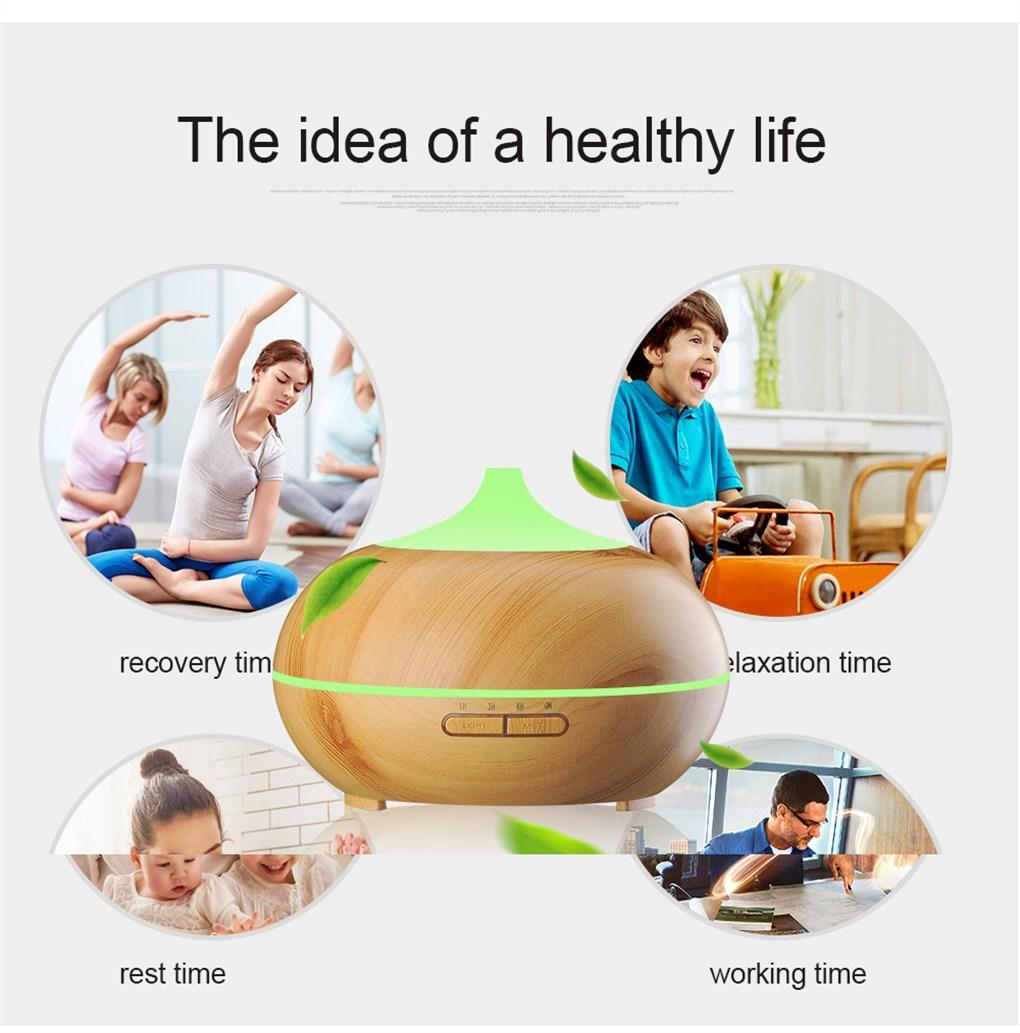 300ml Aroma Essential Oil Diffuser Wood Grain Ultrasonic Cool Mist Air Humidifier for Office Home Bedroom Living Room Study Yoga Spa