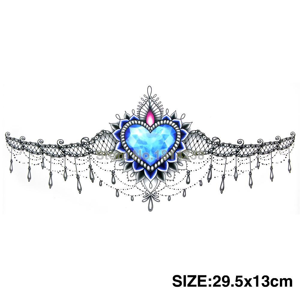 قلب theocean jewelrystattoo الصدر مثير حجم كبير 12.9x29.3 سنتيمتر هيئة الفن الوشم المؤقتة الوشم ملصقات الوشم مثير غريبة