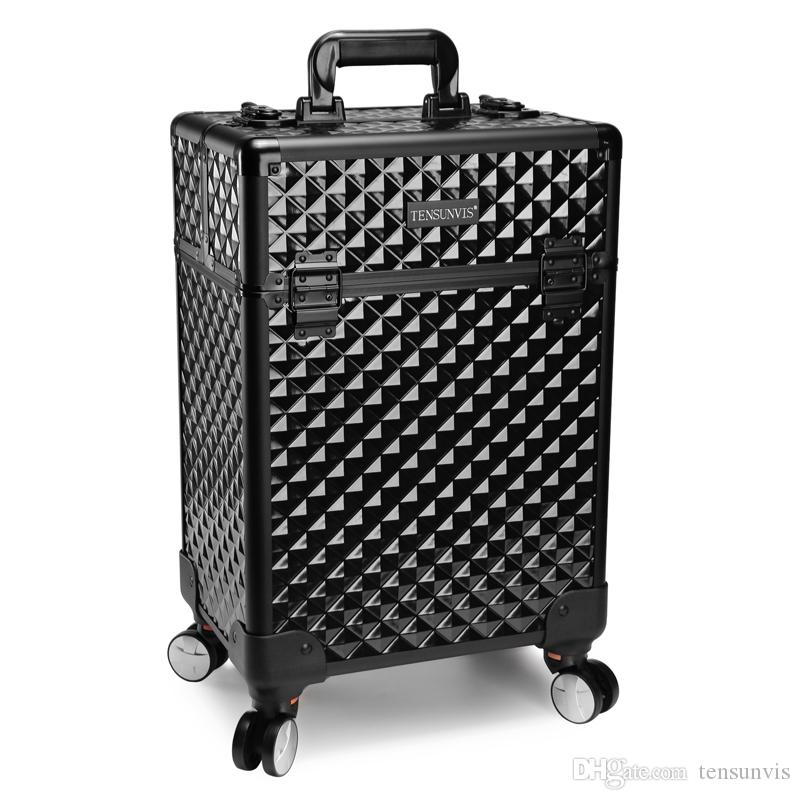 Tensunvis Pro Aluminum Rolling Makeup Case Salon Cosmetic Box - Aluminum trolley case pro rolling makeup cosmetic organizer