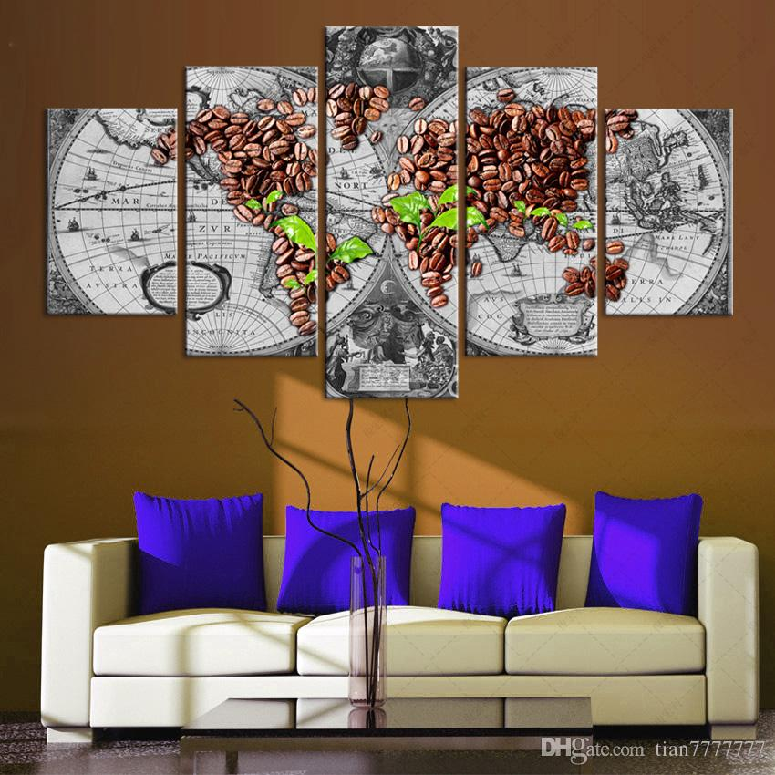 Ancient Roads world map Canvas Painting No frame Abstract Art Print Picture For Living room Home Decor