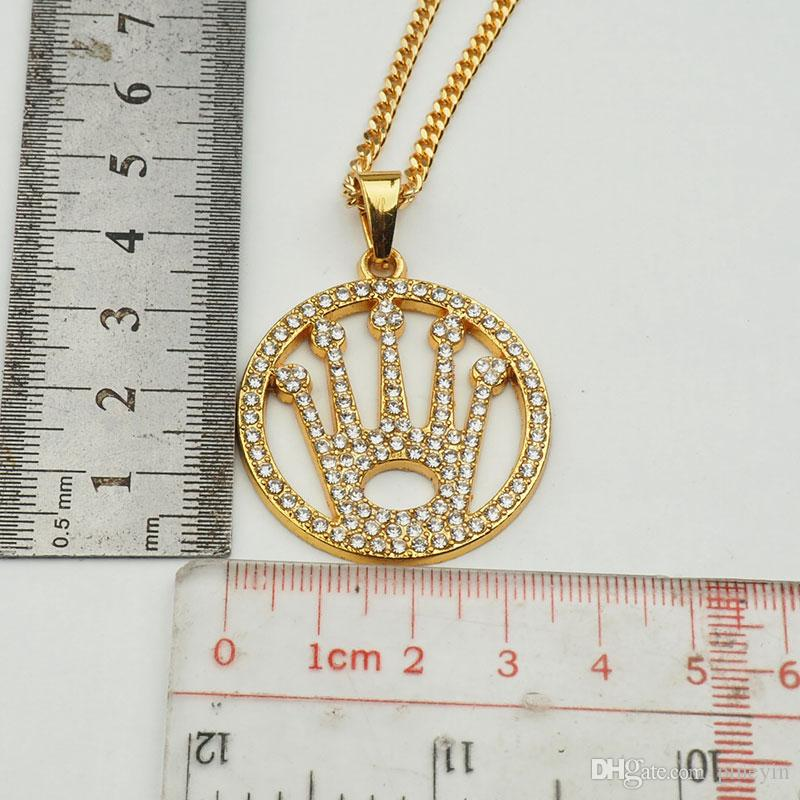 crystal crown round pendant necklace hip hop gold plated necklaces with chain jewelry for men or women item number hps039
