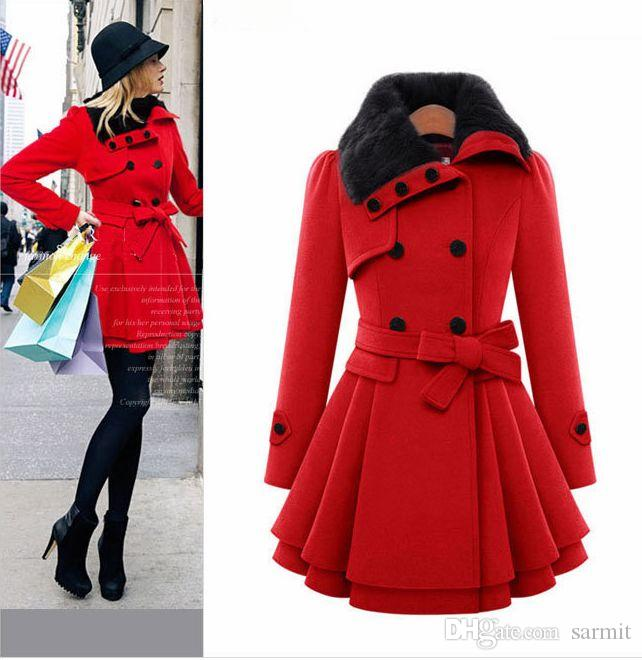 NEW CHEAP Quality Winter Wool Coat Women with Big Faux Fur Collar Double Breasted Elegant Oversized Winter Camel Coat CAF214