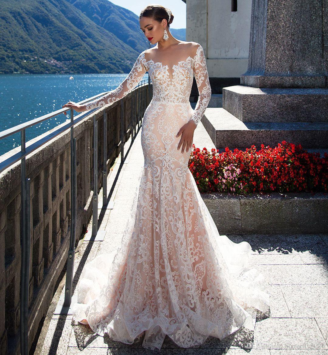 Champagne Long Sleeve Mermaid Wedding Dresses Sheer Scoop Neck ...