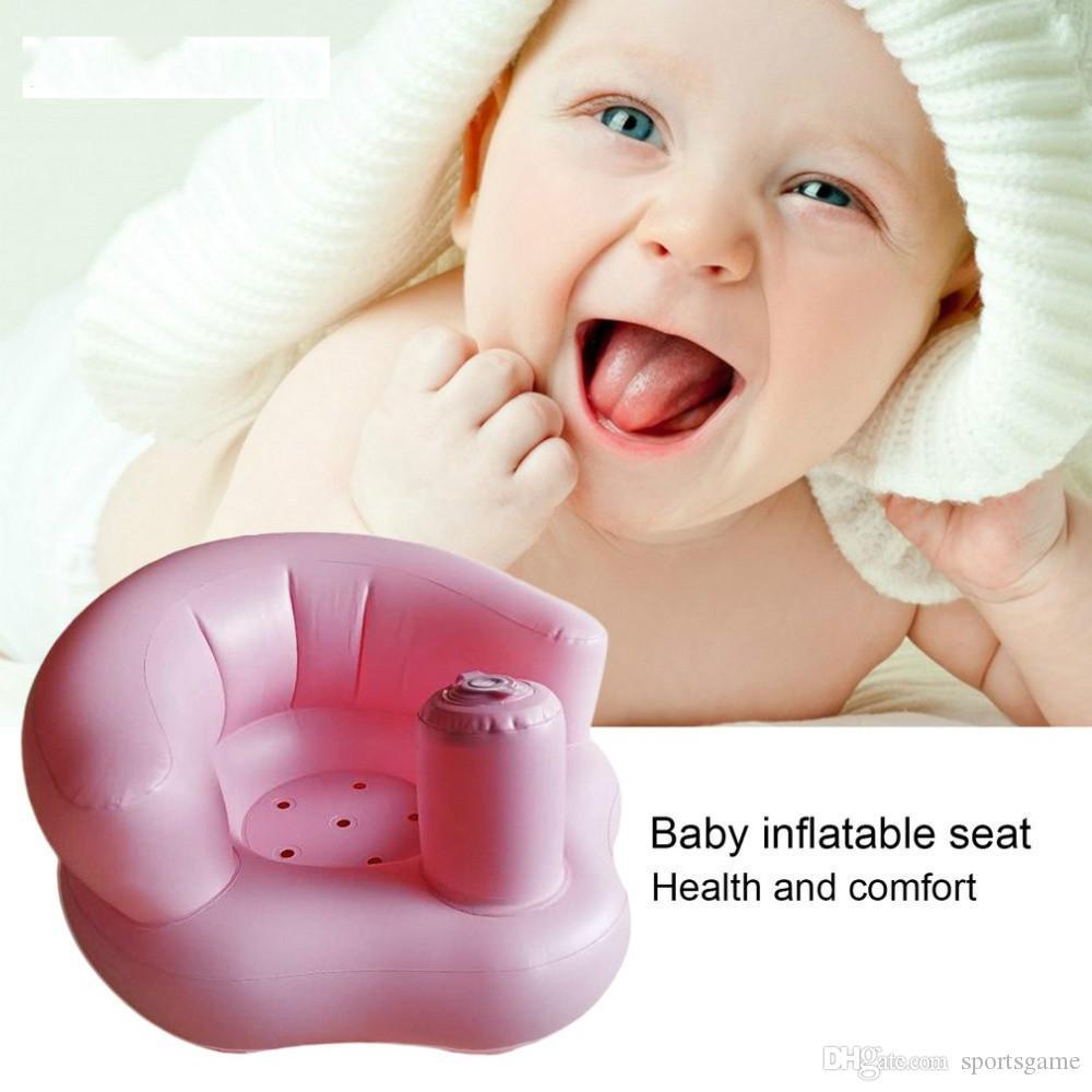 Seggiolone gonfiabile bambini Seggiolini bambini in PVC Sedili da bagno verdi rosa Seggiolone passeggini Infantile portatile giochi di gioco Divano impara feci