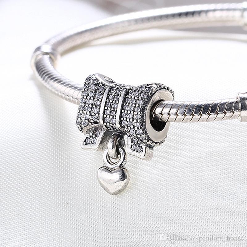 Gros Real 925 Sterling Silver Non Plaqué COEUR Avec BOW CZ Charmes Européennes Perles Fit Pandora Serpent Chaîne Bracelet DIY Bijoux