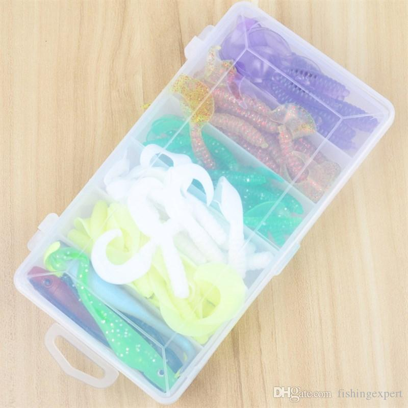 Top Sale Box-packed Soft Baits Combo 6 Kinds Silicone Plastic Fishing Lure Sets or Lifelike Grub Twintails Worms Baits