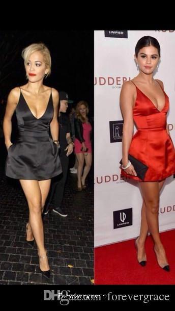 섹시 셀레나 고메즈 레드 딥 브이 넥 이브닝 드레스 짧은 공식 연예인 특별 행사 드레스 파티 가운 사용자 정의 만든 플러스 크기