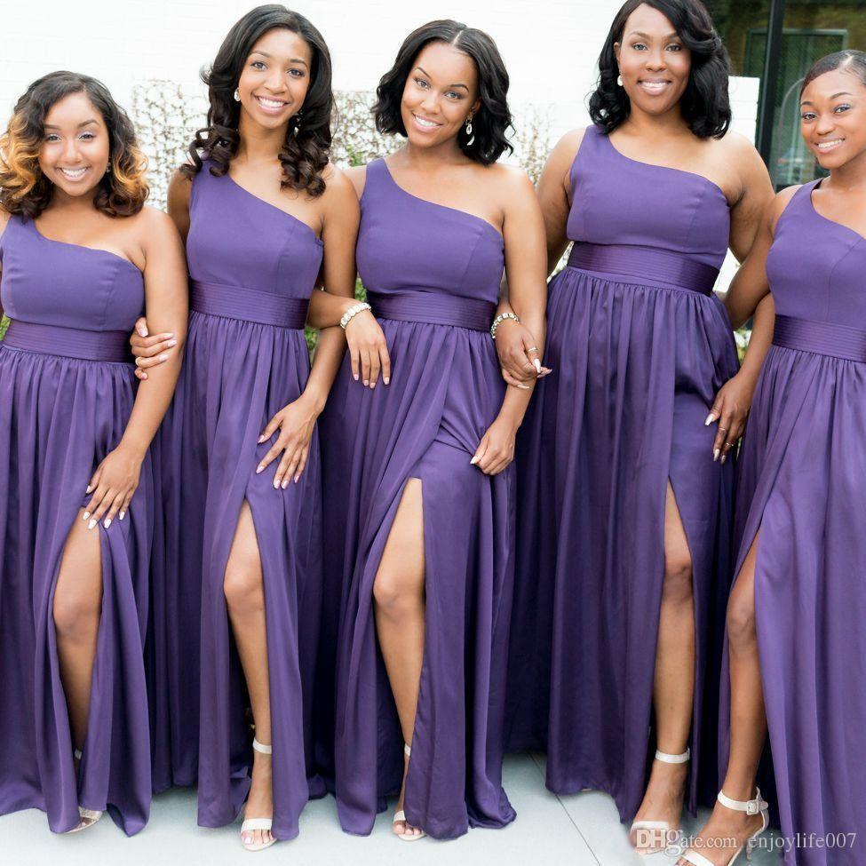 Compre Vestidos De Dama De Honor Baratos De Gasa Sudafricano Púrpura ...