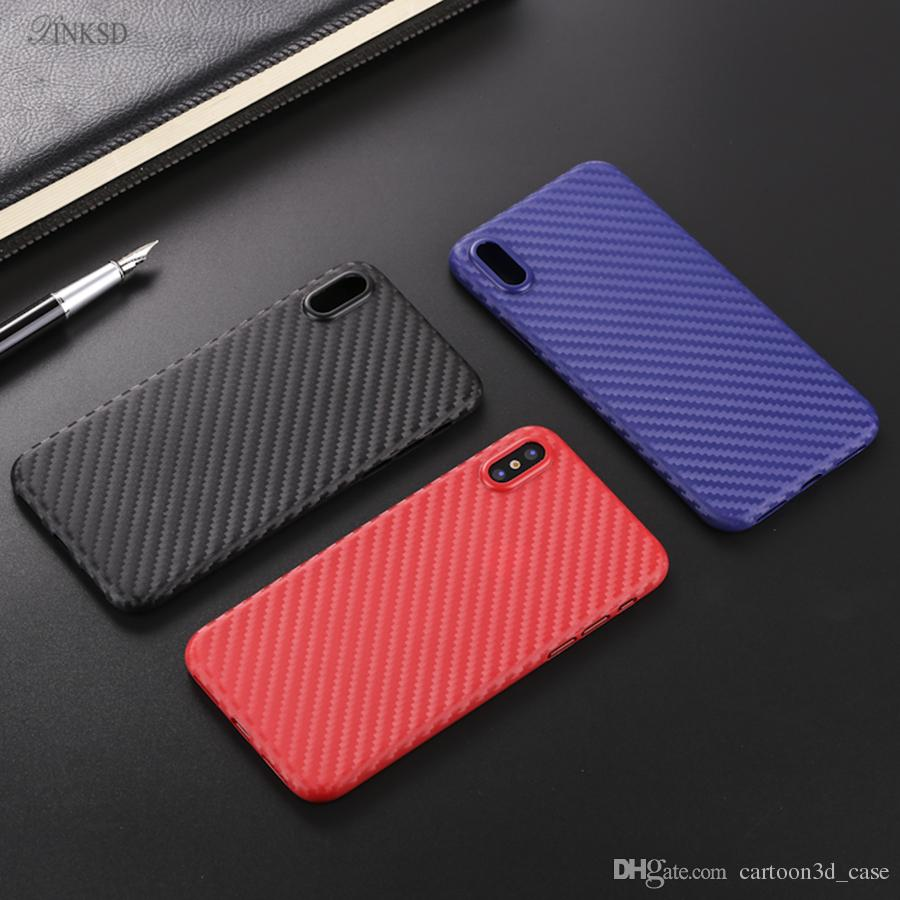 For Apple Iphone X phoen Case Soft TPU Clear + Matte Back Cover Case For Iphone 8 8G Iphone8 edition Carbon fiber phone Shell