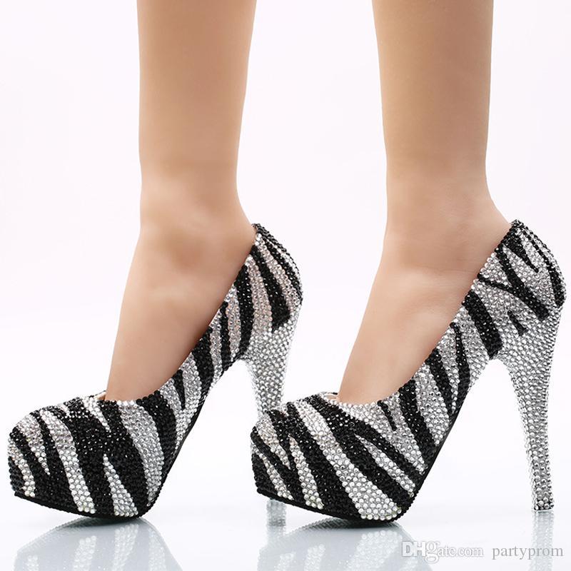 Siyah ve Gümüş Taklidi Düğün Ayakkabı Lady Akşam Parti Külkedisi Balo Yüksek Topuklu Ziyafet Dans Ayakkabıları Pompaları