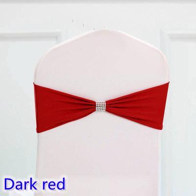 Fajas de lazo de color rojo oscuro Faja de la silla de marco de lycra Faja de lazo para la decoración de banquete de banquete de boda para la venta con la correa brillante
