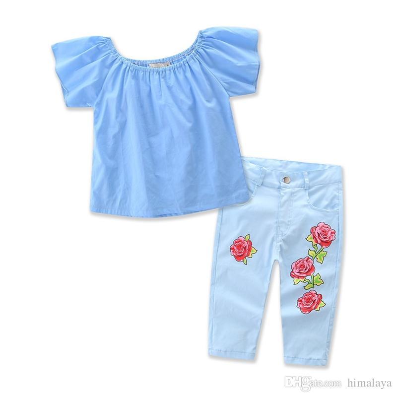 70143ff36d9c Wholesale 2017 Kids Girls Denim Clothes Baby Clothing Toddler Summer ...