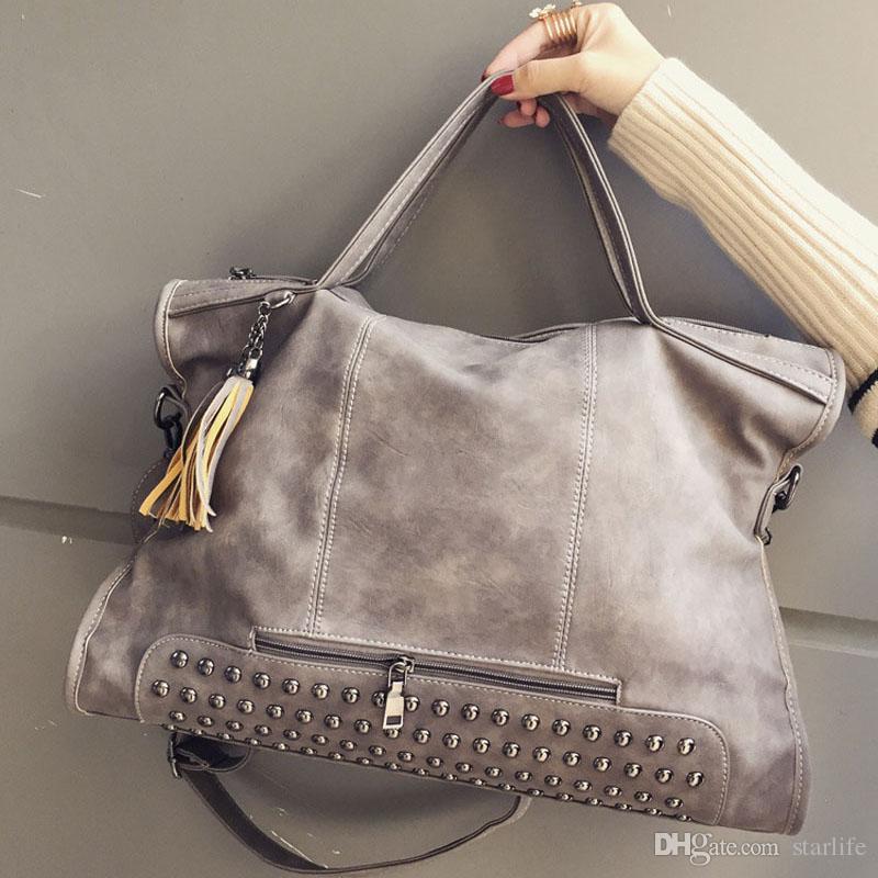 Shoulder Messenger Bag Rivet Vintage PU Leather Female Handbag ... 98242d53c25f1