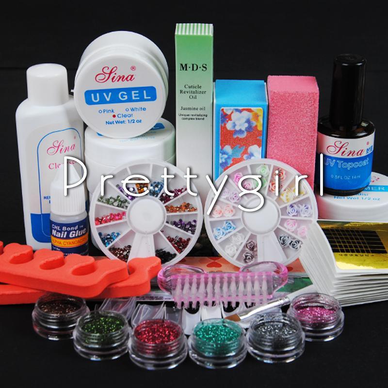 Wholesale Full Pro Uv Gel Nail Art Kit Glitter Powder File Blocks ...