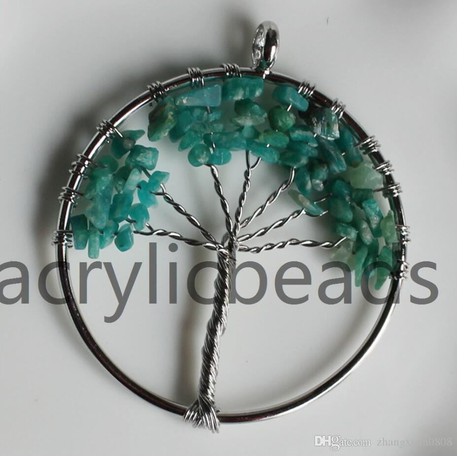 NEW Handmade Tree of Life Chakra Healing Crystal Wire Wrap Natural Gemstone Pendant Jewelry Bracklace Making