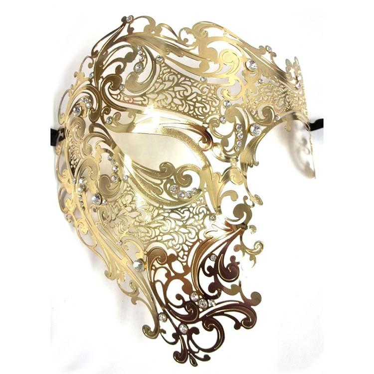 7b27a5e1e8f Acheter Vente En Gros Black Silver Half Face Skull Hommes Femmes Phantom  Evil Vénitien Métal Laser Cut Parti Masque Or Rouge Strass Prom Masquerade  Masque ...
