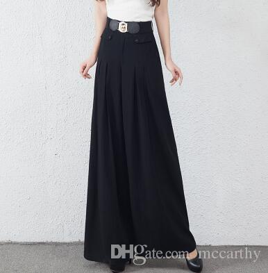 Breite Beinhosen für Frauen elastische Taille plus Größe schwarz grün hohe Taille Frühling Herbst neue Mode in voller Länge lose Hose weibliche yys0702